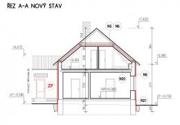 Řez budovou včetně navržených úprav (červeně)