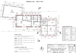 Půdorys 1.NP včetně navržených úprav (červeně)